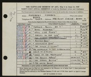 Entry card for Combes, Herbert L. for the 1949 May Show.