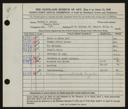 Entry card for Culler, George D. for the 1949 May Show.