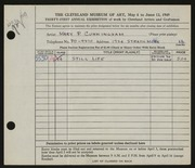 Entry card for Cunningham, Mary Phillips for the 1949 May Show.