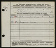 Entry card for Cykowski, George C. for the 1949 May Show.