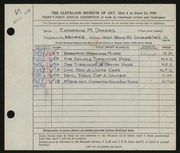 Entry card for Dakers, Catherine M. for the 1949 May Show.