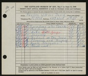 Entry card for David, Adeline Wilkens for the 1949 May Show.