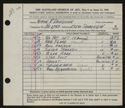 Entry card for Davidson, Myron Russell for the 1949 May Show.
