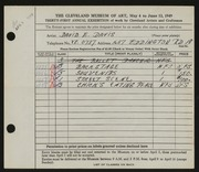 Entry card for Davis, David E. for the 1949 May Show.