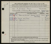 Entry card for Davis, Thelma Gilbert for the 1949 May Show.