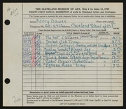 Entry card for Dawes, Nancy for the 1949 May Show.
