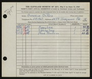 Entry card for DeRosa, Geraldine for the 1949 May Show.