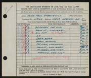 Entry card for Dubaniewicz, Peter Paul for the 1949 May Show.