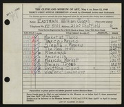 Entry card for Eastman, William Joseph for the 1949 May Show.