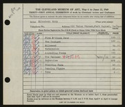 Entry card for Eddy, Elizabeth for the 1949 May Show.