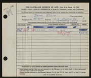 Entry card for Ellis, Dean W. for the 1949 May Show.