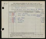 Entry card for Evans, Stanley T. for the 1949 May Show.