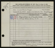 Entry card for Fergus, Louise Breck for the 1949 May Show.