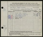 Entry card for Seltzer, Phyllis for the 1949 May Show.