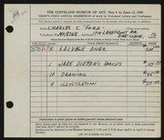 Entry card for Ford, Charles S. for the 1949 May Show.