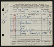 Entry card for Francis, Anna for the 1949 May Show.