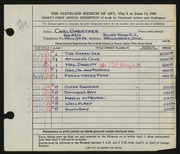Entry card for Gaertner, Carl Frederick for the 1949 May Show.