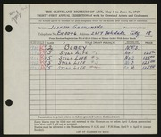Entry card for Garramone, Joseph  for the 1949 May Show.