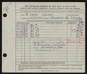 Entry card for Glover, Roland Leigh for the 1949 May Show.