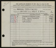 Entry card for Godlewski, Marion for the 1949 May Show.