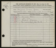 Entry card for Goslee, Marjorie Eileen Evans for the 1949 May Show.