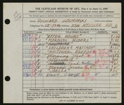 Entry card for Gosminski, Richard for the 1949 May Show.