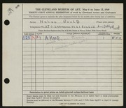 Entry card for Gould, Helen for the 1949 May Show.