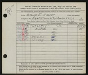 Entry card for Grauer, Natalie Eynon for the 1949 May Show.