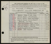 Entry card for Grauer, William C. for the 1949 May Show.
