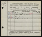 Entry card for Greensmith, John D. for the 1949 May Show.