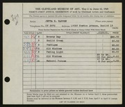 Entry card for Hansen, Jetta Evelyn for the 1949 May Show.