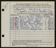 Entry card for Harkins, Dorothy Sabrina Wright for the 1949 May Show.