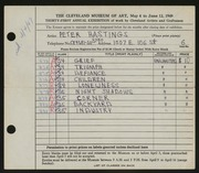 Entry card for Hastings, Peter Paul for the 1949 May Show.