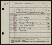 Entry card for Hewett, Helen Bernice for the 1949 May Show.