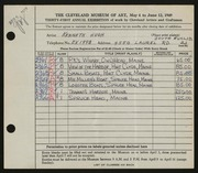 Entry card for Hugh, Kenneth Marcus for the 1949 May Show.