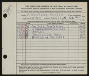 Entry card for Hunter, F. Huntley for the 1949 May Show.