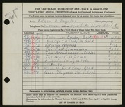 Entry card for Ingalls, Eileen B. for the 1949 May Show.