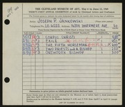 Entry card for Jankowski, Joseph Paul for the 1949 May Show.
