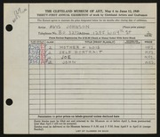 Entry card for Andres, Avis J. for the 1949 May Show.