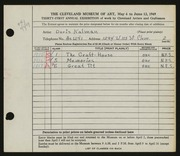 Entry card for Kalman, Doris for the 1949 May Show.