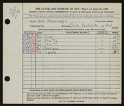 Entry card for Kavanagh, Jean for the 1949 May Show.