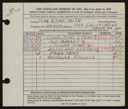 Entry card for Kempsmith, Joan for the 1949 May Show.