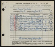 Entry card for Kern, Edward T. for the 1949 May Show.