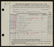 Entry card for Kravitz, Shirley for the 1949 May Show.