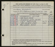 Entry card for Kusmirek, Henry for the 1949 May Show.