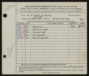 Entry card for Larcey, William J. for the 1949 May Show.