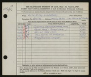 Entry card for Lindstrom, Fritz Riley, and Manning Studios, Inc. for the 1949 May Show.