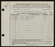 Entry card for Linnell, Peter for the 1949 May Show.