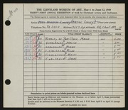 Entry card for Linsey, Arlene for the 1949 May Show.