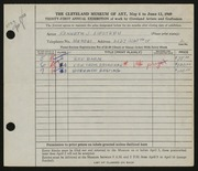 Entry card for Lipstreu, Kenneth J. for the 1949 May Show.
